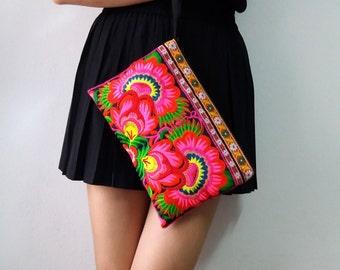 Hmong Vintage Style Ethnic Thai Boho Medium Size Embroidered Bag