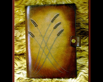 WHEAT #2 Design: A Beautifully Hand Crafted Medium Sized Leather Journal. Great for a diary, recipes, addresses, garden notes, etc