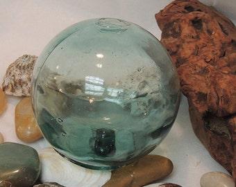 Vintage Japanese GLASS FISHING FLOAT.. bubbles & Maker's Mark (#9)