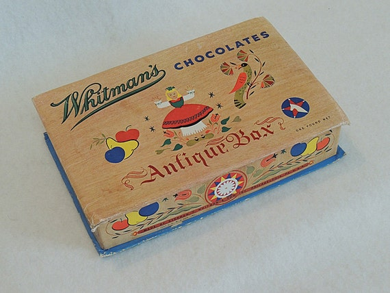 Vintage Candy Whitman's Chocolate's Antique Box Dated 1947