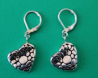 Sterling Silver Lever Back Pattern Heart Earrings