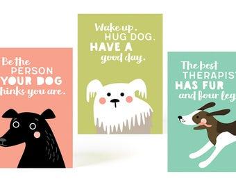 DOG LOVER postcard set, dog postcards, set of 3 postcards, dog illustration, dog drawing, vector art