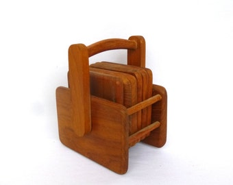 VINTAGE TEAK COASTERS with Caddy