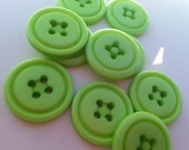 "10 Lime Green Cove Rim Round Buttons Size 3/4""."