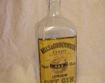 c1920s Hills & Underwood London Dry Gin London, England , Cork Top Aqua Glass Bottle with the Original Paper Label, Prohibition Bottle