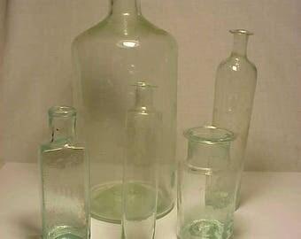 c1830-1850s Group of 5 Cork Top Aqua Glass Open Pontil Medicine Bottles, Rare Find Open Pontil Utility Bottles