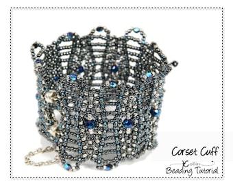 RAW Seed Bead Lacy Cuff Beading Pattern Beadweaving Instructions Jewellery Tutorial Right Angle Weave Elegant Feminine Filigree CORSET CUFF