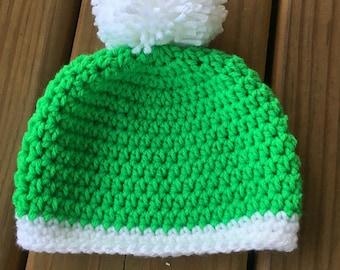 Elf hat - green winter hat - crochet winter hat - crochet winter toque - crochet beanie - crochet Christmas hat - christmas in July