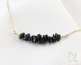 Rough Raw Black Obsidian Bar Necklace - Raw Stone Necklace - Gemstone Bar Necklaces - Layering Necklace - Delicate Gemstone Necklace