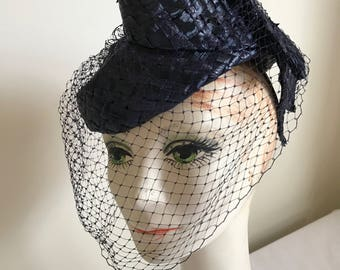 Vintage Navy Straw Hat with Veil by  Mr. John.  Derby Perfect