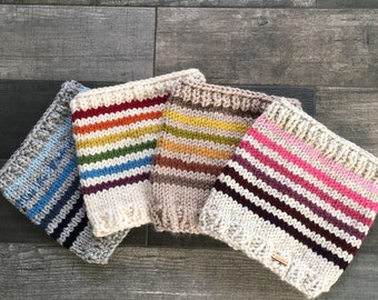 Rainbow Knit Cowl Chunky Knit Childs Infinity Scarf