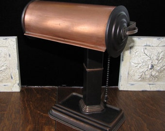 Vintage Art Deco Bankers Desk Lamp FREE SHIPPING to the USA.
