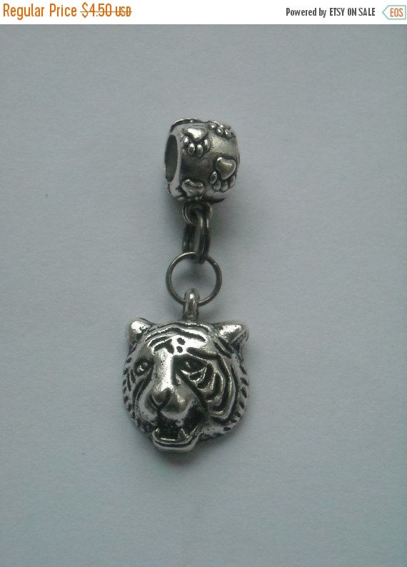 ON SALE TIGER Head Charm & Paw Print Bail, Fits most Name Brand Big-hole and Snake-type bracelets - Tigers, Bobcats, Jaguars, Wildcats, Cata