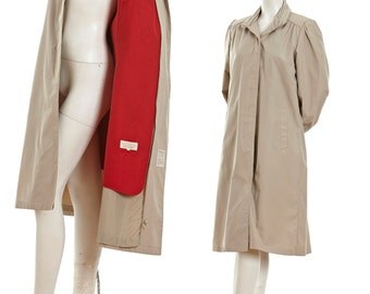 Vintage long coat -- tan coat with high collar and red lining -- 80s trench coat -- vintage Windsor Bay coat -- size smal  / medium