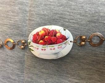 Bowl of Cherries Vintage Tin Bracelet