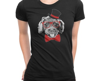 Dapper Dachshund Tee • Dox Doxie Weenie Dog Wiener Dog Sausage Dog Wire Haired Hipster Glasses Clothing Clothes Womens Shirt T-Shirt Top