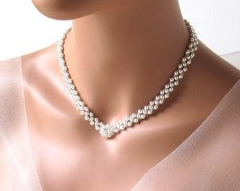 Bridal Necklace, Pearl Necklace, Bride Necklace, Beaded Necklace, V Necklace, Wedding Necklace, Bridal Jewelry, Pearl Bridal Necklace