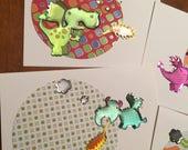Sale - 4 dragon designed birthday cards -