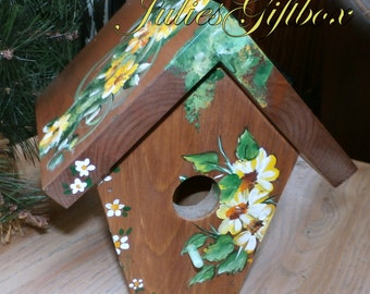 Hand Crafted Birdhouse Cottage Style Bird House, Indoor, Outdoors-Great Gift Mom Dad Friend