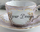 Pink & Gold Customized Teacup and Saucer Set, Custom Teacup, Personalized Cup, Custom Wedding Cup, custom Mug, Personalized Mug, Any Design
