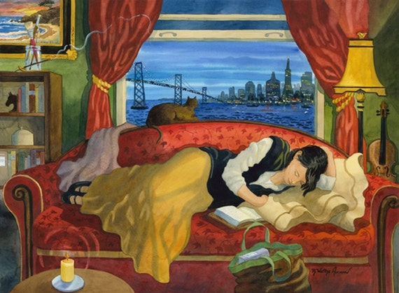Figure of Woman on Couch in front of Window with Cat looking out to San Francisco and the Golden Gate Bridge with Red and Gold Colors