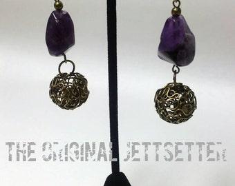 Amethyst Earrings - Antiqued Brass Earrings