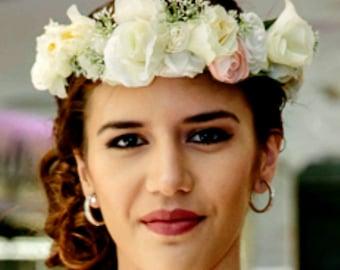 White Off White Ivory Flower Crown Headband White Flower Headpiece Floral Crown Wedding Flower Crown Wedding Hair Wreath Flower Headband Wh