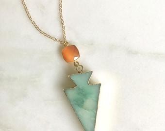 Gemstone Slice Necklace. Mint Arrowhead Pendant Necklace. Mint Orange Jewelry. Layering Necklace. Gift. Slice Geode Long Necklace.