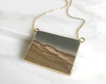 Jasper Rectangle Stone Necklace. Geode Necklace. Stone Jewelry. Stone Necklace. Gold Necklace.  Statement Necklace. Gift. Jewelry Gift.