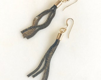 Black and Gold Tassel Earrings.  Drop. Dangle. Gold Tassel Jewelry. Unique Jewelry Gift.  Dangle Earrings. Modern Earrings.
