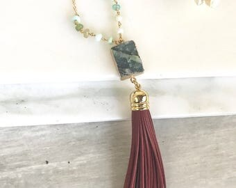 Tassel Necklace Druzy Agate and Greeb Rosary.  Long Layering Red Tassel Necklace. Stone Tassel Necklace. Rosary Chain Necklace. Boho Tassel.