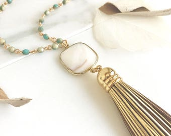 Tassel Necklace White Agate and Aqua Rosary.  Long Layering Tassel Necklace. Stone Tassel Necklace. Rosary Chain Necklace. Boho Tassel. Gift