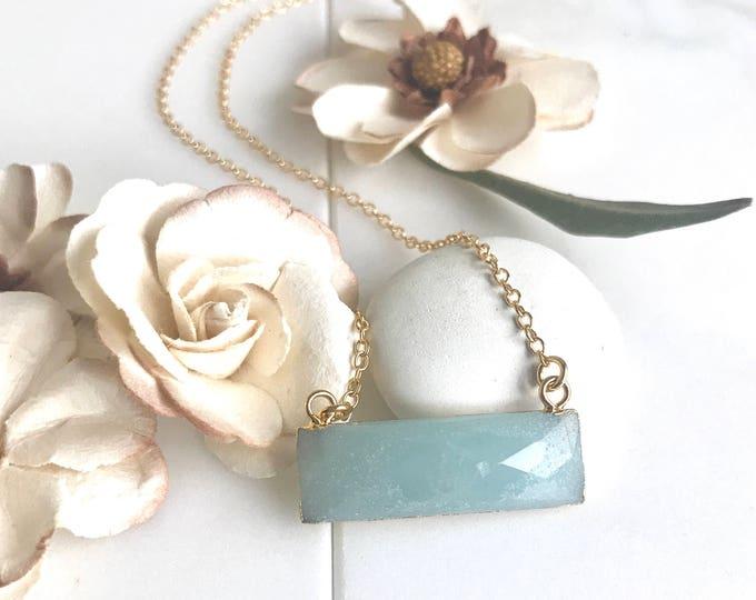 Amazonite Bar Necklace.  Everyday Gold Bar Pendant Necklace. Dainty Gold Bar Necklace. Gift for Her. Layering Necklace. Beaded Necklace.