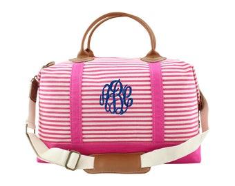 Weekender Canvas Bag Monogrammed Pink Stripe - Duffel Tote/Bag - Perfect gift for Graduation, Birthday, Bridesmaid