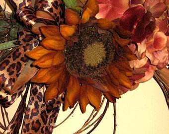 Sunflower circlet, wedding decoration, door or wall decor, Winter Solstice, year-round