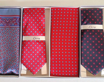 3 Fabulous Envoy Ties With Matching Handkerchiefs In Original Boxes BRAND NEW With Gift Tags