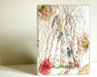 Spring dress contemporary embroidered beaded textile art in pastel colors