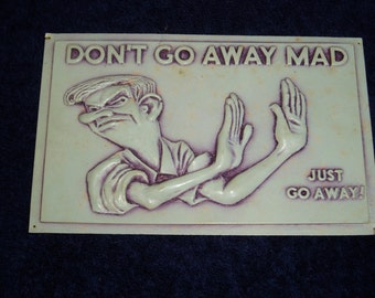 Vintage Post Plax Postcard, Don't Go Away Mad