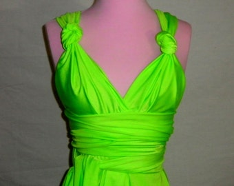Neon Green Infinity Convertible Dress... Bridesmaids, Special Occasion, Holidays, Prom, Beach, Honeymoon, Vacation