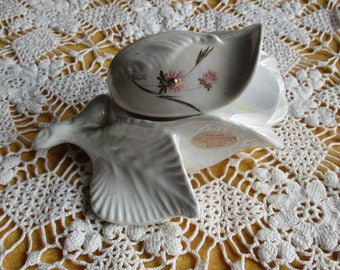 Vintage Opalescent Porcelain, Rose Painted Flowers Signed Porcente, Mordelli Originali Italy, Ring Presentation & Storage, Mother's Day Gift