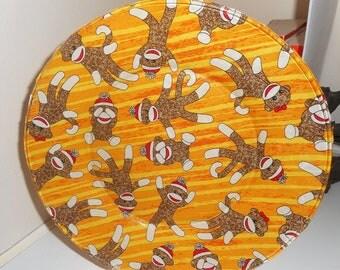 "Fabric backed glass plate, 10.5 "" fabric backed plate, monkey design, monkey, monkey plate, display plate, sock monkey plate"