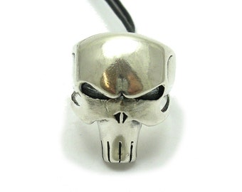 Sterling silver ring solid 925 punisher skull biker pendant