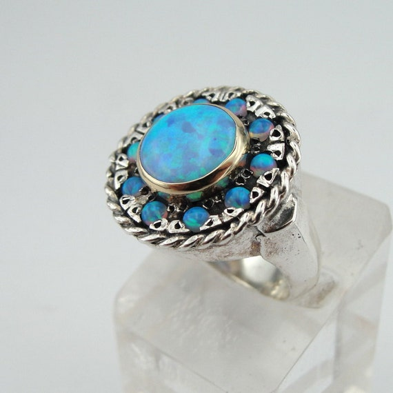 Items Similar To Opal Ring Exquisite Braided Opal: Items Similar To Blue Opal Ring, Round Ring, Silver And