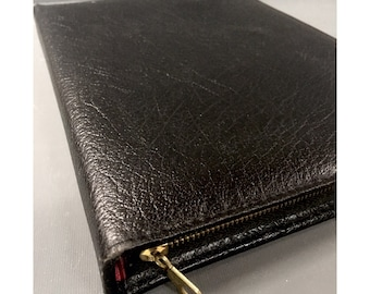 Vintage Black English Large Buffalo Leather Writing Case 1970s Leather Wallet