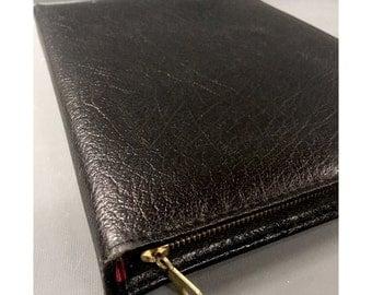 Vintage Black English Large Buffalo Leather Writing Case 1970s Leather Wallet
