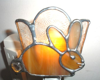 LT Stained glass, Bunny, Rabbit, amber, night light, lamp, clear background, my hand made in the USA, Easter, childs bedroom, accent lamp,