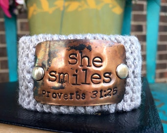 Scripture Bracelet, Proverbs 31 Jewelry, Bible Verse Custom Hand Stamped Jewelry, Religious Bracelet, Gift for Teacher