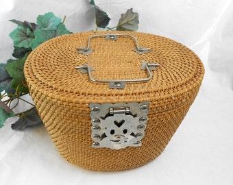 Vintage French wicker basket rustic basket with decorative hardware wicker basket wicker purse art deco metal picnic basket 1930s wicker