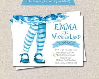 Alice in Wonderland Birthday Invitation, Alice in ONEderland Birthday Invitation, Tea Party, Alice in Wonderland Invite, printable