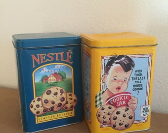 Lot of Two Vintage Tin Can Cookie Containers